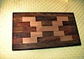Chopping board made from beech, copper beech and meranti off cuts